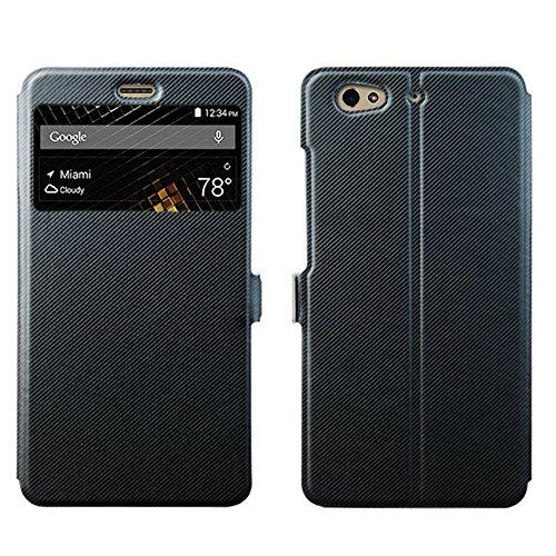 BLU VIVO 5 Case, Skmy Flip PU Leather case Fold Folio Slim-Fit Protective cover for BLU VIVO 5 5.5 inch smartphone (Leather Black)