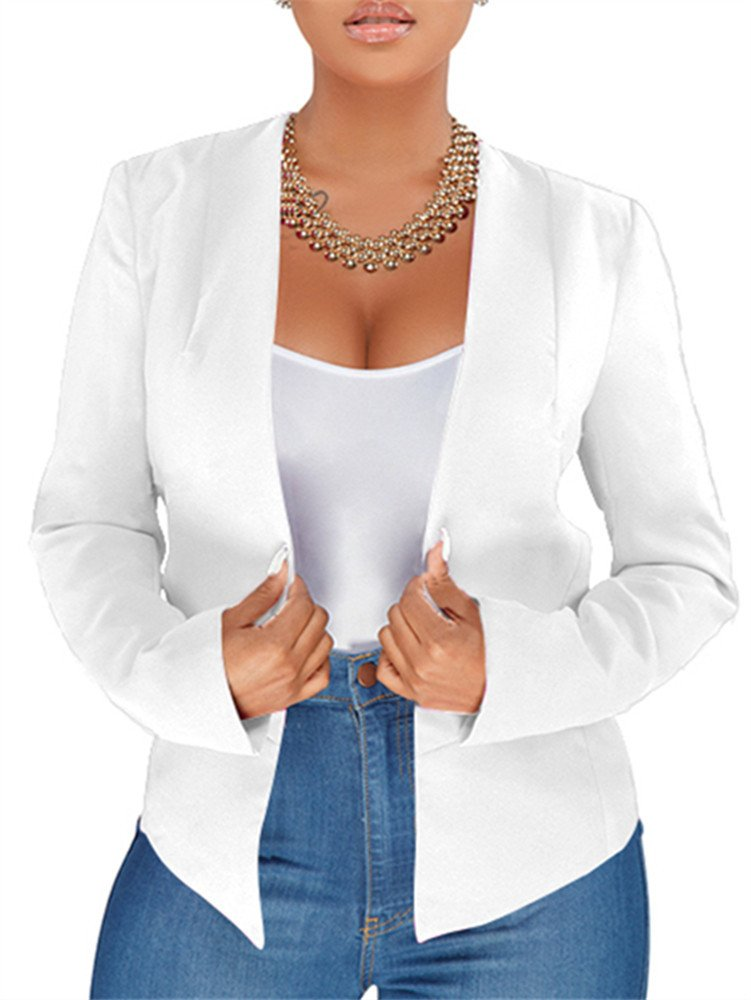 GOBLES Women's Casual Long Sleeve Solid Work Suit Club Party Blazer Jacket White
