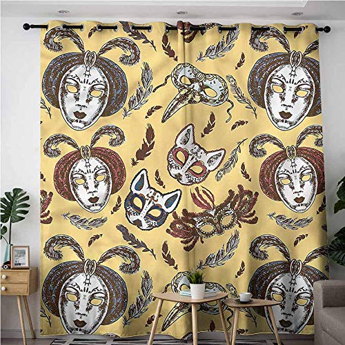 - XXANS Curtains for Living Room,Masquerade,Venetian Mask Feathers,Darkening Thermal Insulated Blackout,W72x84L