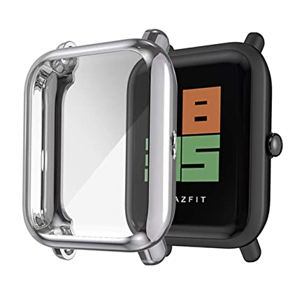 Haojavo Compatible with Amazfit Bip Smartwatch Screen Protector Case, Ultra-Thin Soft TPU All Around Full Protective Protector Case for Xiaomi Huami ...