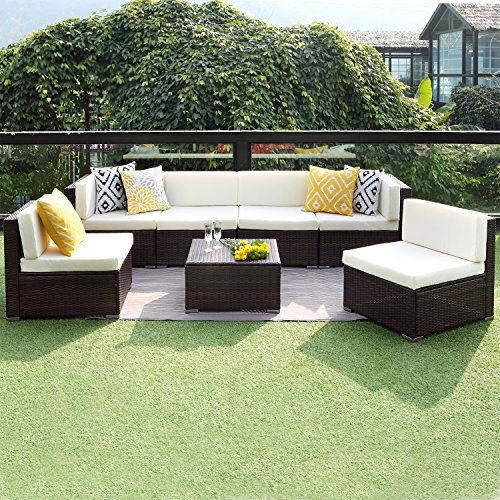 7PCS Patio Furniture Conversation Set,Outdoor Sectional Sofa Set All Weather Brown Wicker Furniture Set by Wisteria Lane