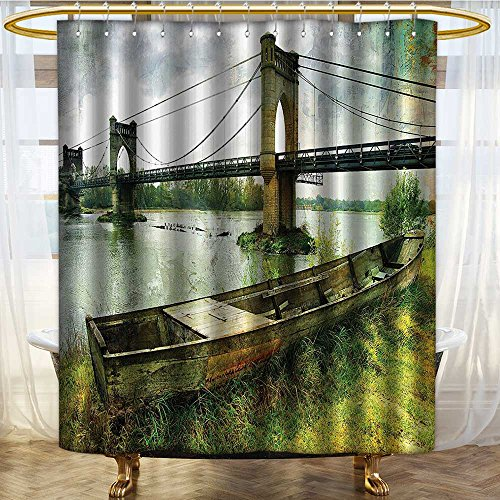NALAHOMEQQ Apartment Decor Shower Curtain Set by Bridge and Old Boat on Riverside Distressed Paint Style Nostalgic City Retro Picture Bathroom Accessories Green Grey(72