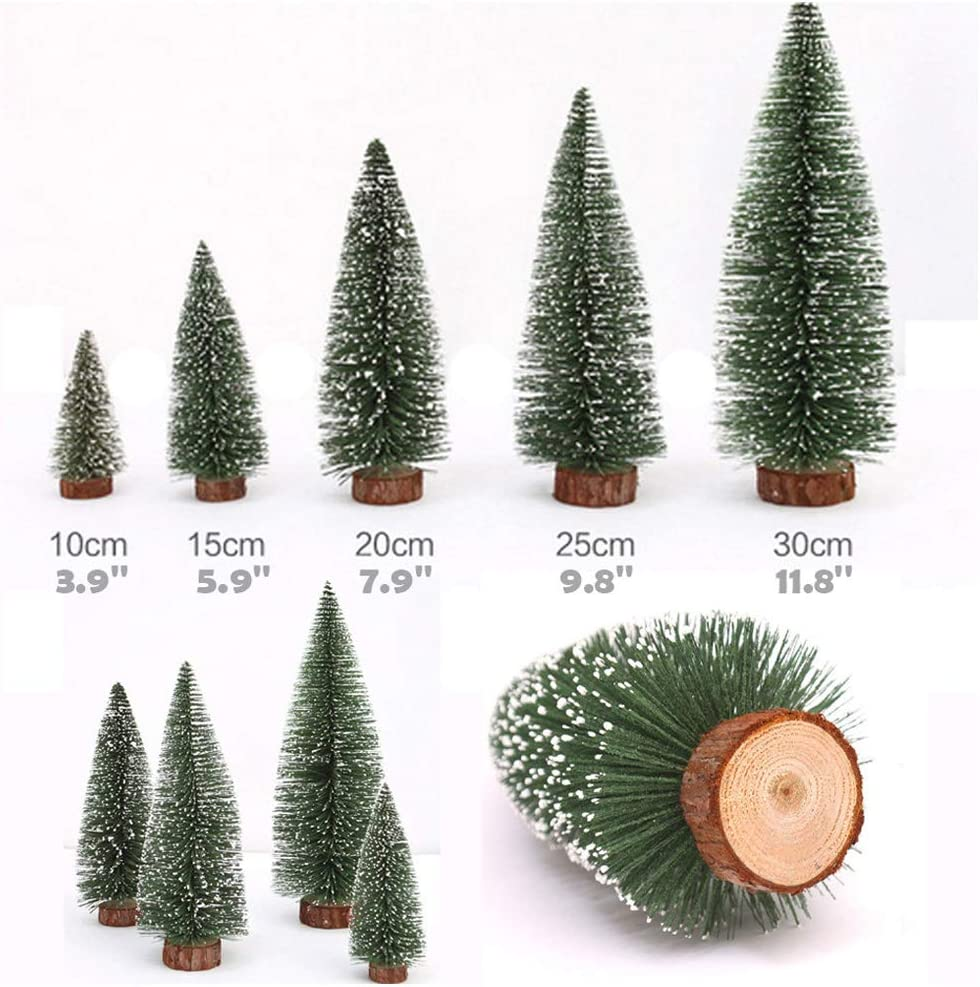 Mini White Cedar Christmas Tree - Desktop Small Xmas Bottle Brush Tree - Miniature Tabletop Snow Frosted Artificial Pine - DIY Craft Navidad Ornament Party Centerpiece Decoration