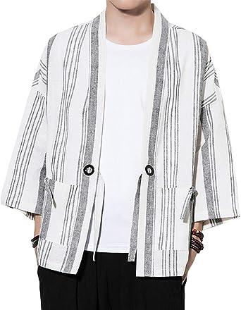 Hombres Estilojaponés Abrigo Capa Básico Lino Cloak Cárdigan Camisa Kimono Chaqueta De Básico Rayas Blancas 4XL: Amazon.es: Ropa y accesorios