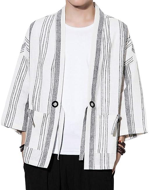 Hombres Estilojaponés Abrigo Capa Básico Lino Cloak Cárdigan Camisa Kimono Chaqueta De Básico: Amazon.es: Ropa y accesorios