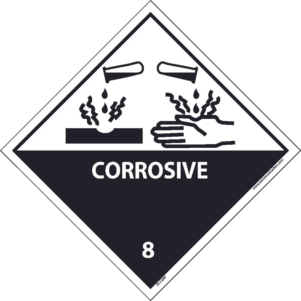 DL12ALV National Marker Dot Shipping Label, Corrosive 8, 4 Inches x 4 Inches, Ps Vinyl, 500/Roll