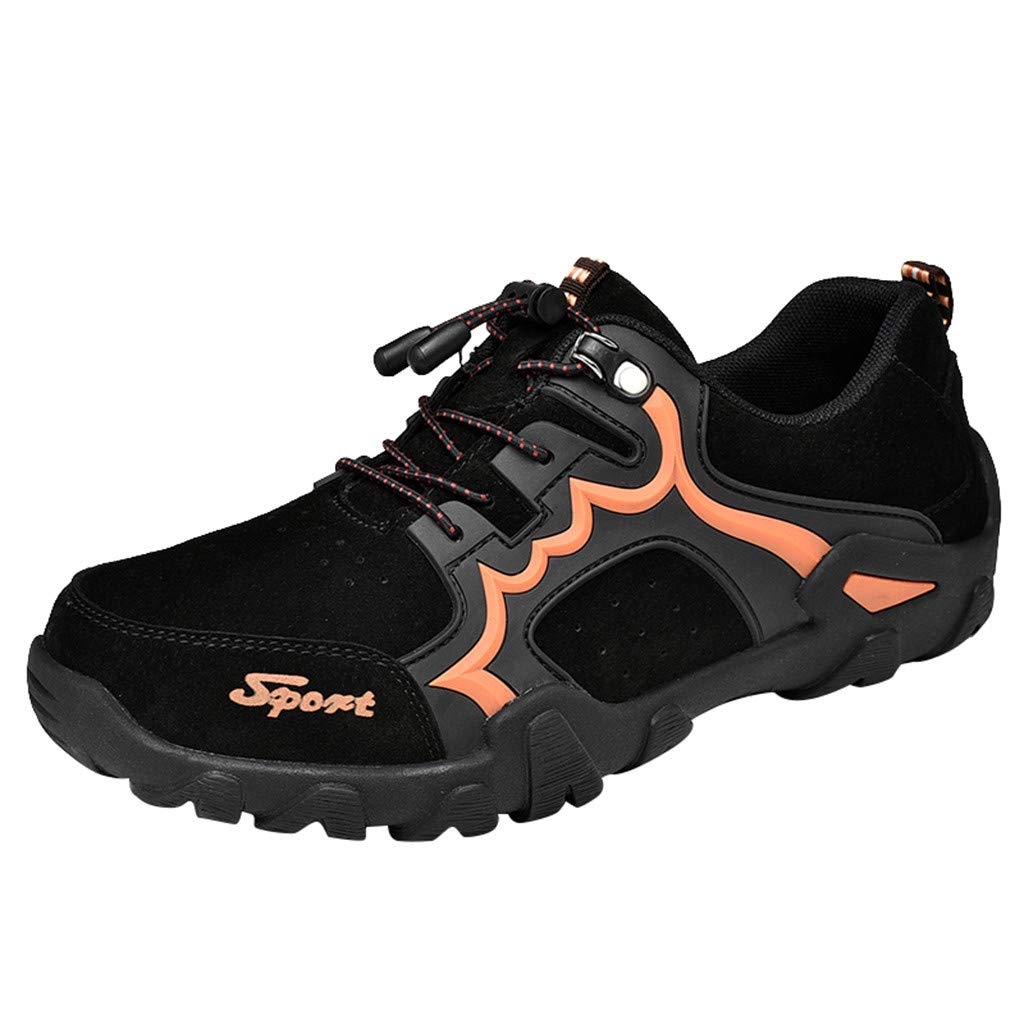 Dermanony Men's Outdoor Hiking Shoes Mesh Leisure Sports Shoes Breathable Tourist Walking Shoes Winder Athletic Shoes Black by Dermanony _Shoes