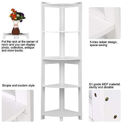 Bathroom Hardware 5-tier Corner Bookshelf Storage Cabinet Bookcase Rack Organizer Cd Book Decor