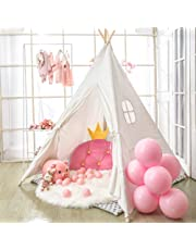Monobeach Teepee Tent for Kids Foldable Children Play Tent for Girl and Boy with Carry Case 4 Poles White Canvas Playhouse Toy for Indoor and Outdoor Games (White)