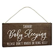 Baby Sleeping Sign for Front Door Decorations Hanging - Do Not Knock or Ring Doorbell - No Soliciting Please Don't Disturb