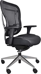 Oak Hollow Furniture Aloria Series Office Chair Ergonomic Executive Computer Chair with Genuine Leather Seat Cushion and Mesh Back, Adjustable and Comfortable, Lumbar Support, Swivel and Tilt (Black)