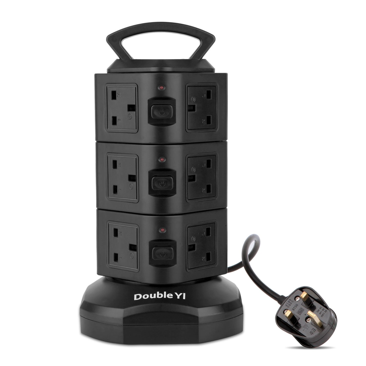 DoubleYI Extension lead socket extension power extension 12 way outlet Surge Protection 12 Gang Power Strip with Retractable 3m/9.8Ft DoubleYI-BN