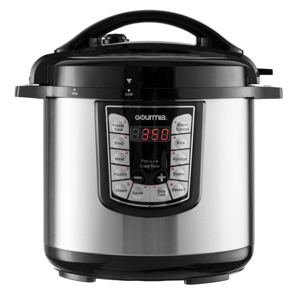 Gourmia GPC800 8 Qt Digital Multi-Mode SmartPot Pressure Cooker | 13 Cook Modes | Removable Pot | 24-Hour Delay Timer | Automatic Keep Warm | LCD Display | Pressure Sensor Lid Lock | Recipe Book