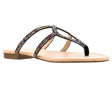 198ca085fba Gc Shoes Women s Cleo Rhinestone Embellished Thong Flat Sandal (10 B(M) US