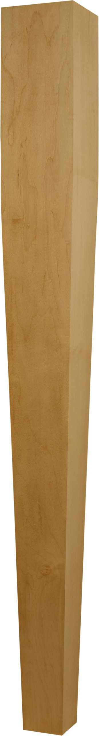 Single Unfinished Tapered (Four Sided) Island Post in Soft Maple - Dimensions: 34 1/2 x 3 1/2 inches