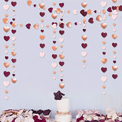52ft Rose Gold Party Hanging Decorations Circle Dots Paper Garlands Bachelorette Wedding Engagement Girls Birthday Baby Shower Valentines Mothers Day Party Photo Booth Backdrops Decorations
