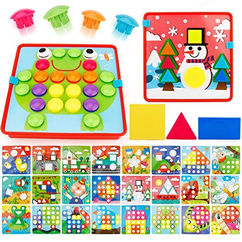 JoyGrow 2 in 1 Button Art Color Matching Mosaic Pegboard Set Toddler Toys Color & Geometry Shape Cognition Skill Learning Educational Toys for Boys Girls (72 PCS Buttons and 24 templates )