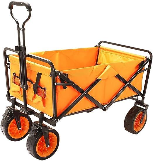 Zichen Carro de jardín plegable Carro de la compra en la playa/Almacenamiento masivo/Neumático de ensanchamiento + Freno/Carga: 80 Kg/Naranja (Color : Orange): Amazon.es: Bricolaje y herramientas