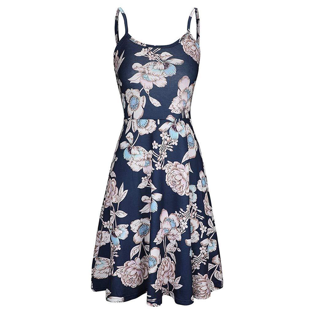 Mikey Store Women's Sleeveless Printing Summer Floral Aline Dress Strap Sleeveless Beach Backless Short Mini Boat Neck Black
