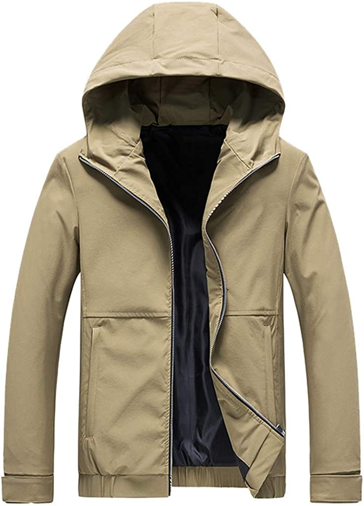 Malltop Mens Plus Size Autumn Winter Windproof Jacket Coat Casual Long Sleeve Solid Roll Collar Personality Blouse Tops