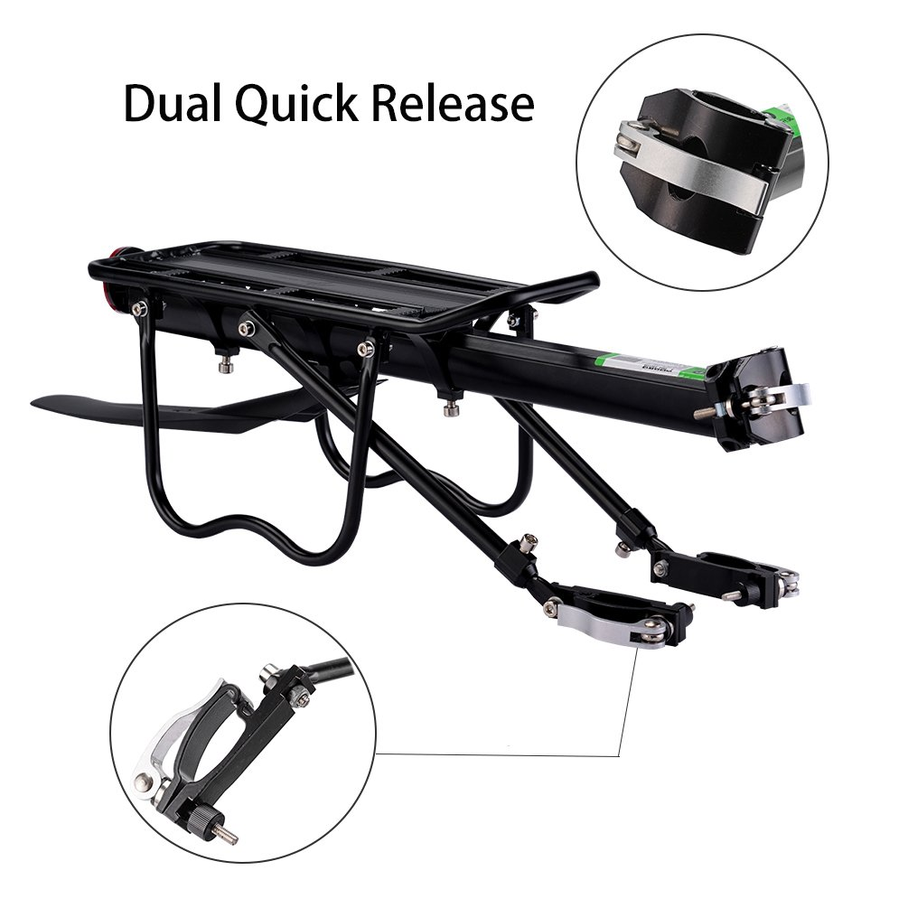 RockBros Bicycle Cargo Rack Mountain Bike Fender Board Quick Release Carrier Rear Rack Alloy Black by RockBros (Image #2)