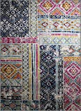 Oriental Rug Bohemian Farmhouse Distressed New Area Rug Carpet Size options available (5' x 7'.1'', style 503 cream)
