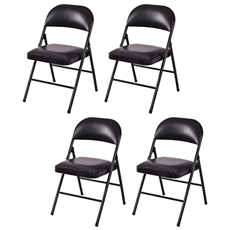 Giantex Set Of 4 Folding Chairs Upholstered Padded Seat Metal Frame Home  Office Black(Black