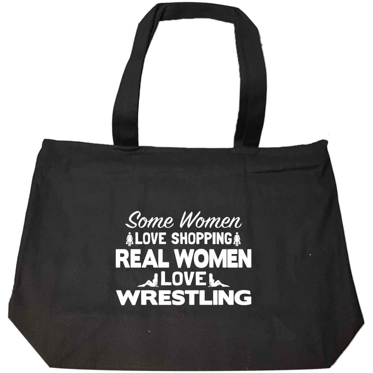 Some Women Love Shopping Real Women Love Wrestling - Tote Bag With Zip by Brands Banned