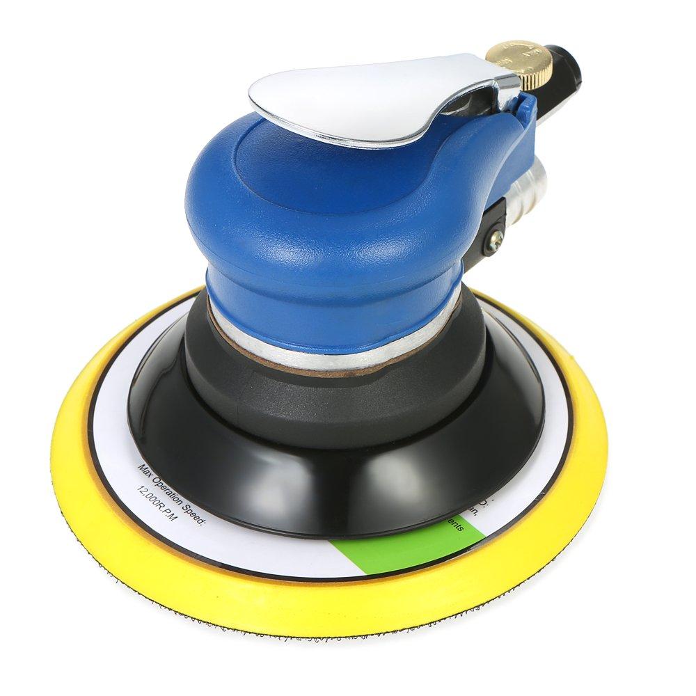 KKmoon Multifunction 6'' 10000RPM Pneumatic Palm Random Orbital Sander Polisher Air Powered Orbit Polisher Dual Action Polishing Grinding Sanding Waxing Tools with Vacuuming Bag by KKmoon (Image #2)