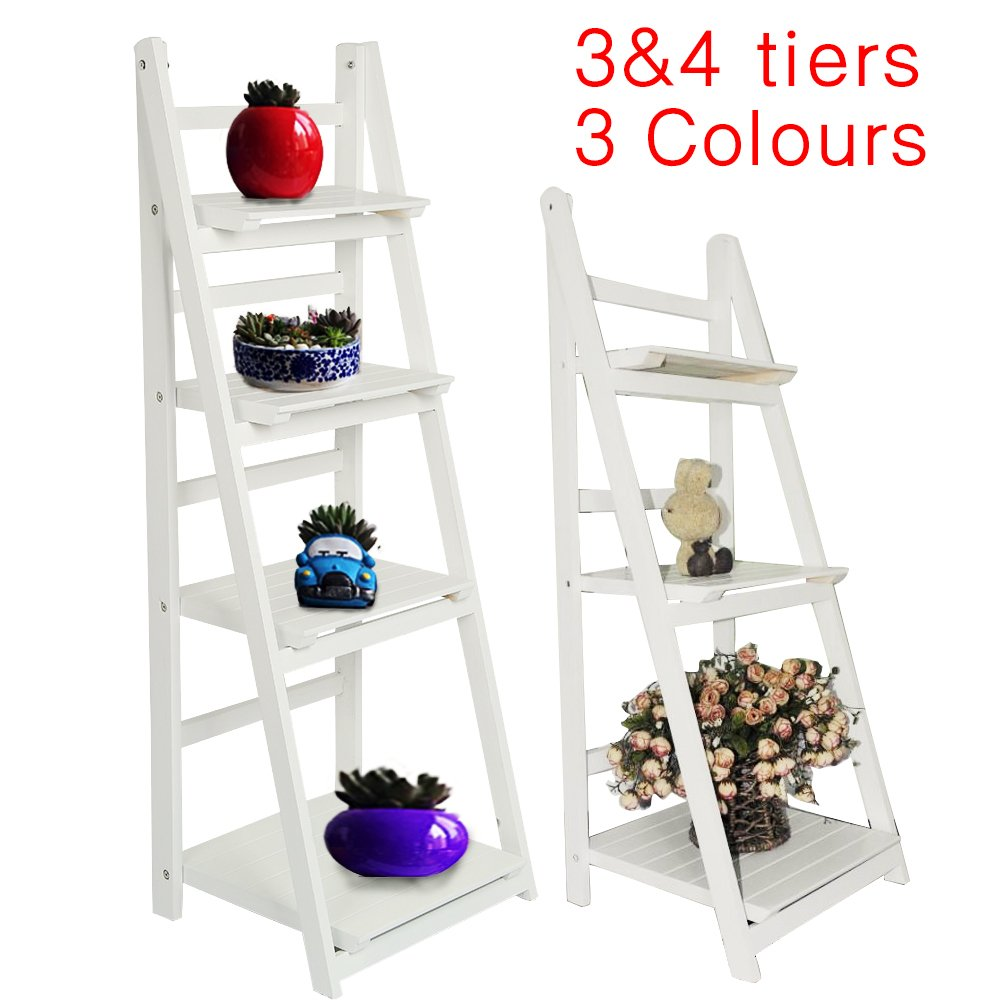 AllRight 3 Tiers Ladder Book Shelf Wooden Bookcase Home Decor Storage Unit Standing Shelves 3 Tiers Black oem