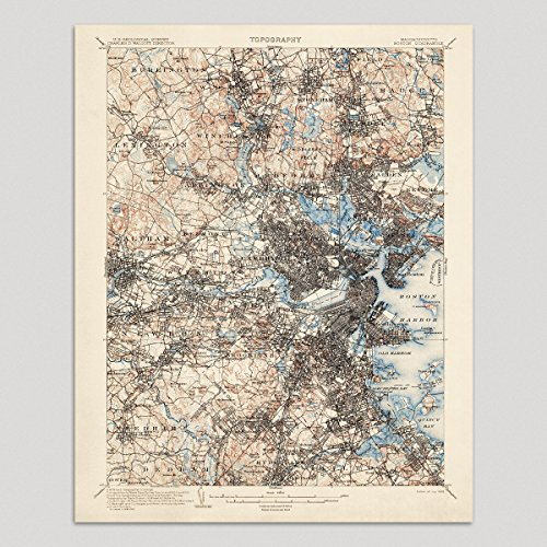 Reproductions Historical Map (Old Boston Map Art Print 1903 - USGS Topographic Map - Archival Reproduction)