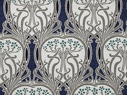 Art Deco Style Soft Cotton Canvas Dress Fabric Blue Per Metre Amazon Co Uk Kitchen Home