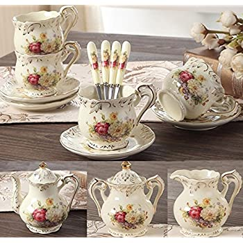 ufengke 11 Pieces Creative European Luxury Hand Painted Red And Gold Flower Ivory Porcelain Ceramic Coffee Set Tea Set Tea Service