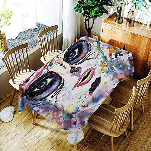 TT.HOME Anti-Fading Tablecloths,Sugar Skull Halloween Girl with Sugar Skull Makeup Watercolor Painting Style Creepy Look,Fashions Rectangular,W60x84L,Multicolor]()
