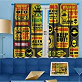 alsohome Design Print Thermal Insulated Blackout Curtain Warning Signs with Alien ces Heads Galactic Paranormal Activity for Living Room 55'' W x 39'' L