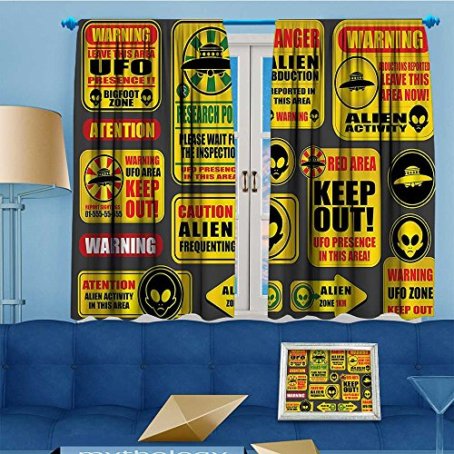 alsohome Design Print Thermal Insulated Blackout Curtain Warning Signs with Alien ces Heads Galactic Paranormal Activity for Living Room 55'' W x 39'' L by alsohome