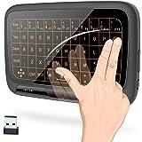 改良版 2.4Ghz キーボード ワイヤレス式 ミニキーボード マルチタッチパッド マウス一体型 バックライト USBレシーバー付き PC/PAD/Android TV/HTPC/IPTV対応
