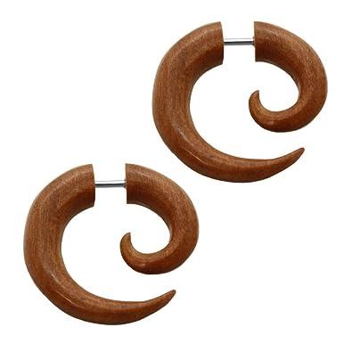 2 Finto Espirales Estensor falso piercing oreja fakeplug dilatador fake plug orgáncia madera cuerno hueso negro blanco , color:Teak Holz / teak wood: ...