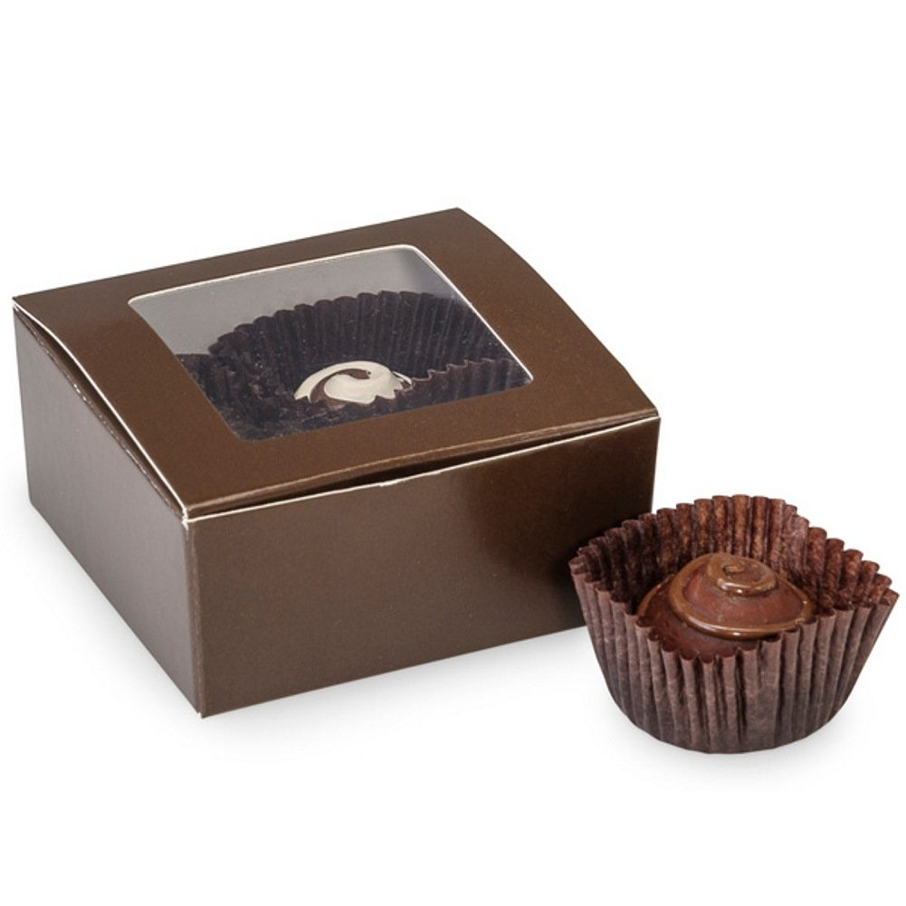 Sophie's Favors and Gifts Brown 4 Piece Truffle Boxes With Window - 2-5/8 x 2-3/4 x 1-1/4in. - 25 Pack