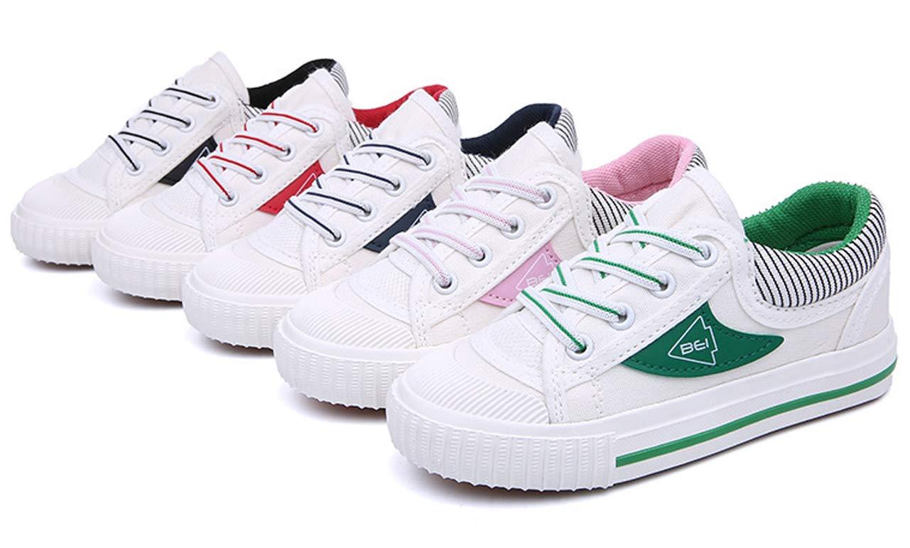 iDuoDuo Boys Girls Fashion Stripes Lace up Anti Slip School Tennis Shoes Red 9.5 M US Toddler by iDuoDuo (Image #5)