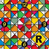 Rikki Knight Letter R Monogram Vibrant Colors Stained Glass Design Design 8'' Art Wall Clock