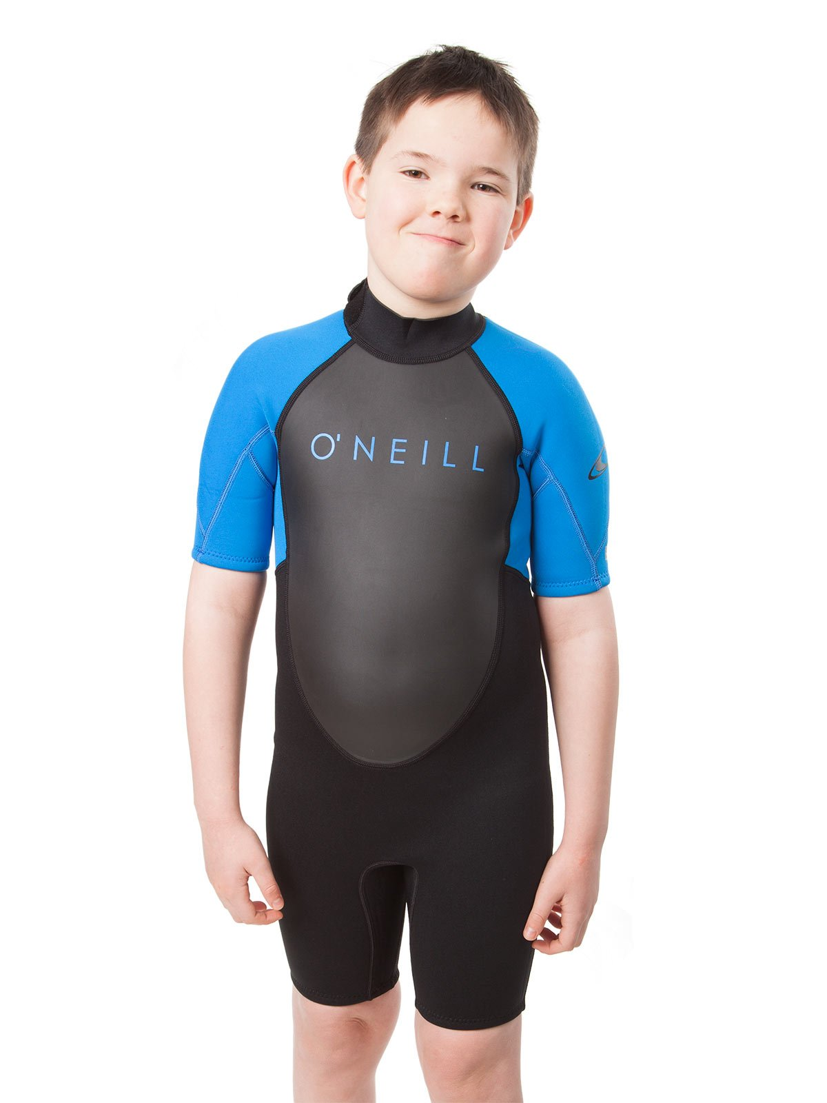O'Neill Youth Reactor-2 2mm Back Zip Short Sleeve Spring Wetsuit, Black/Ocean, 4 by O'Neill Wetsuits (Image #4)