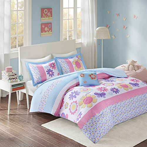 Comfort Spaces - Happy Daisy Kid Comforter Set - 4 Piece - Butterfly & Floral - Blue Pink - Queen Size, involves 1 Comforter, 2 Shams, 1 Decorative Pillow