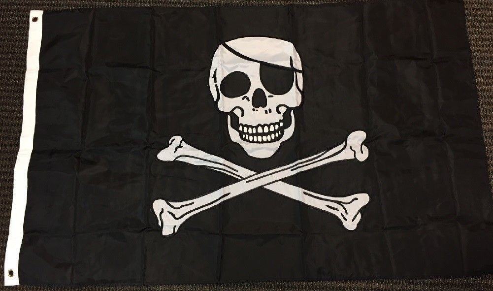 Jolly Roger Pirate Flag Embroidered Nylon 3 x 5 Foot New Vivid Color and UV Fade Resistant Canvas Header and Double Stitched polyester materia