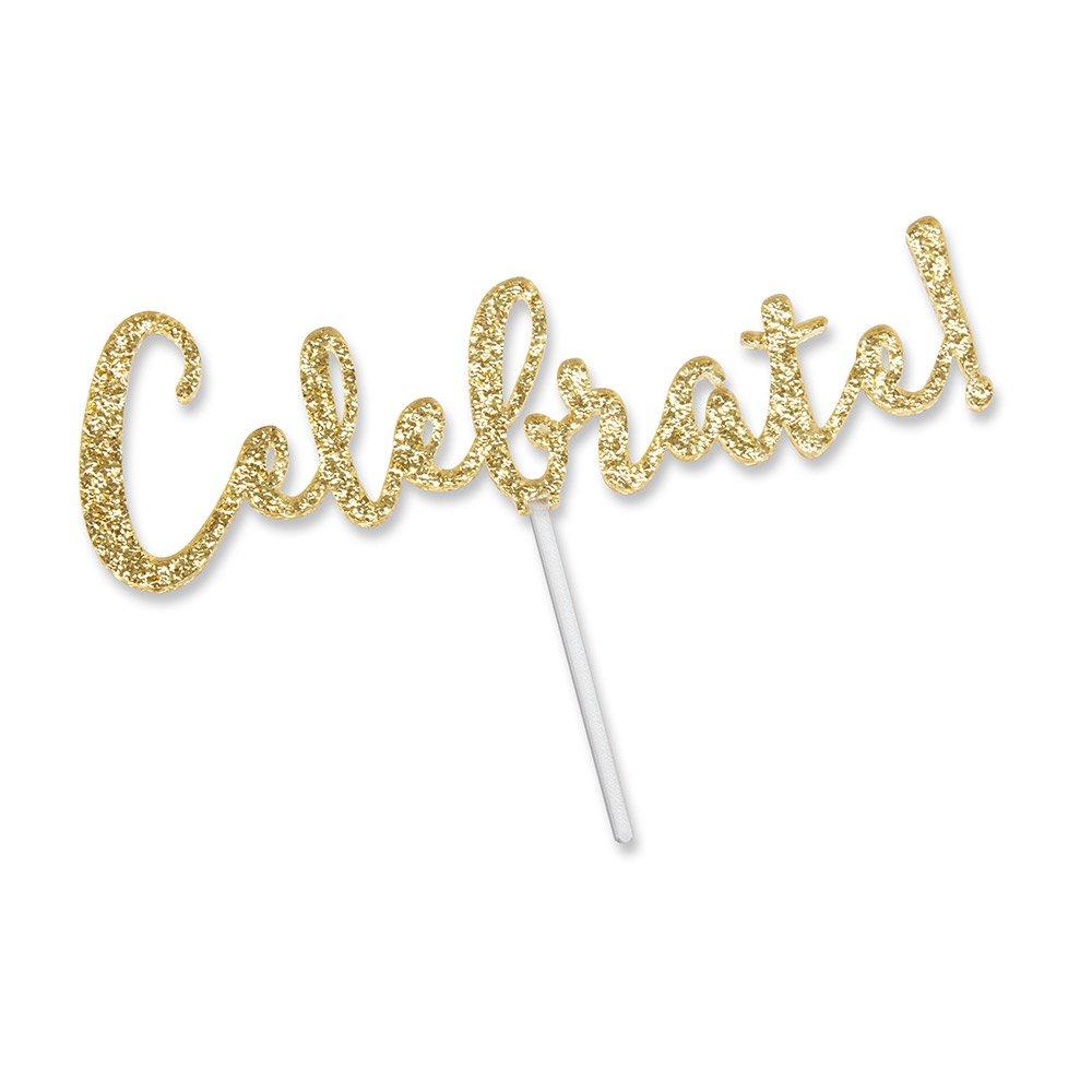 Kate Aspen 18135CB Celebrate Gold Glitter Cake Topper by Kate Aspen (Image #1)