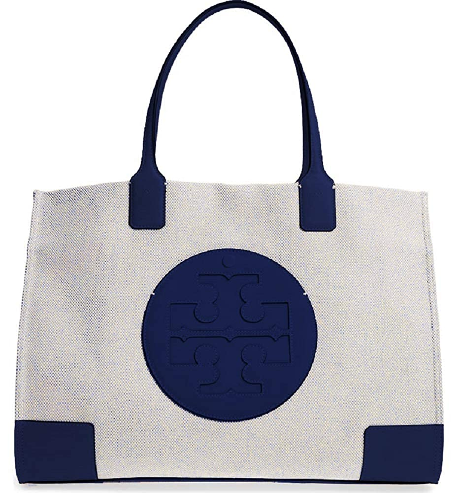 2b9cc6cf2f59 Amazon.com  Tory Burch Women s Ella Canvas Tote Navy Handbag  Shoes