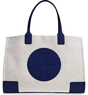 d16608748cb2 Amazon.com  Tory Burch Women s Ella Canvas Tote Navy Handbag  Shoes
