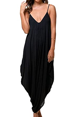 960e7698a7b YACUN Women s Spaghetti Strap Loose Overall Romper Harem Jumpsuit   Amazon.ca  Clothing   Accessories