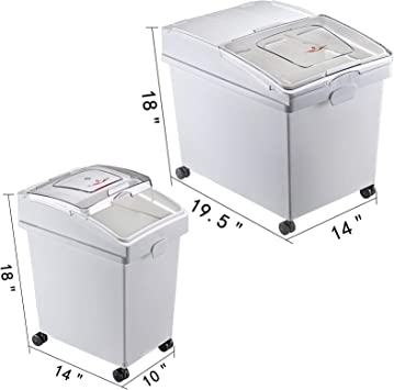 Contenedor de Arroz con Tapas y Ruedas Blanco Contenedor de Almacenamiento de Arroz de Alta Capacidad Dispensador de Cereales 25 kg x 2 + 15 kg x 2 VEVOR Contenedor de Harina de 4 Juegos