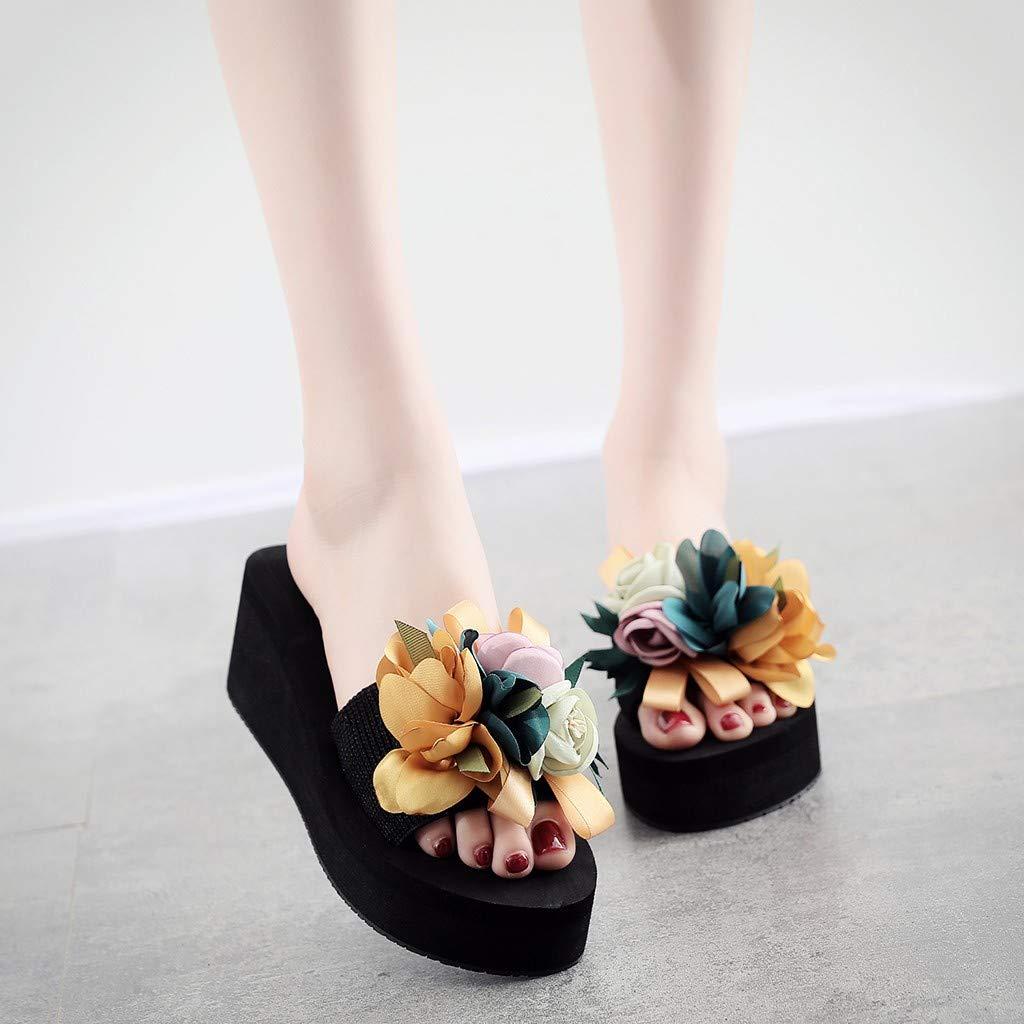 EDTO Women Platform Sandal Shoes,Floral Sandals for Women Summer Beach Travel Shoes Fashion Sandals Comfortable Ladies Shoes